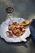 Wild mushroom gratin with tomatoes and Pecorino
