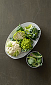 Romanesco, cauliflower and broccoli