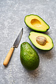 Cut avocadoes