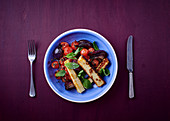Roasted veggies and halloumi salad