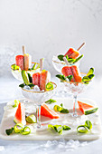 'Bloody Mary'-Eislollies mit Wassermelone
