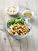 Zolfino bean salad with smoked tofu and fennel