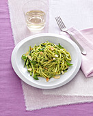 Tagliolini with courgette and almond pesto