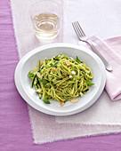 Tagliolini with courgette and almond pesto