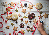 Various Christmas cookies with star decorations