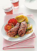 Grilled sausage with grilled vegetables