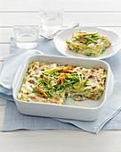 Zucchini-Lasagne mit Speck