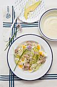 Tuna salad with egg, apple, avocado and celery