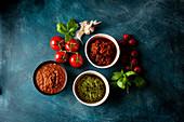 Italian sauces - Pesto, tomato sauce, sauce Bolognese