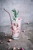 Rose Lemonade with Iced Roses