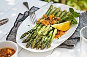 Green asparagus with passion fruit vinaigrette