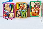 Drei verschiedene Lunchboxen