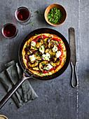 Pfannenpizza mit Aubergine, Ricotta und Minze