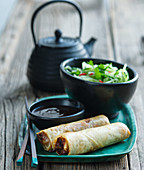Duck spring rolls with thai cucumber salad