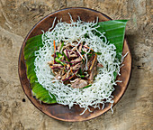 Singapore duck on fried rice noodles (Asia)