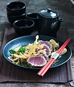 Tuna tataki in a sesame seed coating (Japan)