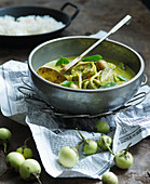 Green Thai curry with aubergines