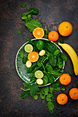 Ingredients for a spinach lemon banana smoothie