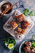 Caramelized pork belly with sesame