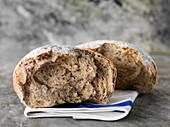 Freshly broken rye bread
