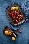 Frische Kirschen und Aprikosen auf Tablett und Schneidebrett