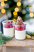 Panna cotta with mulled wine cherries and biscuit on stool