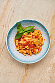 Tasty pasta with herbs and tomato