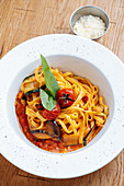 Tagliatelle with courgette, aubergines and tomatoes