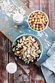 Salad with chickpeas, chicken and radish