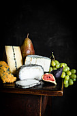 Cheese Selection with Grapes, Figs and Pear