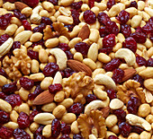 Trail mix with cranberries (filling the picture)