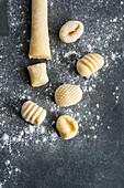 Raw gnocchi dough and gnocchi