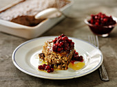 Swedish sausage pudding with cranberries