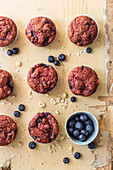 Beetroot muffins with hazelnuts and blueberries