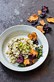 Leek and goat cheese risotto with balsamic vinegar, beetroot, sweet potato and kale crisps