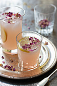 Rhubarb sharbat with rose water and rose petals