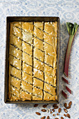 Baklava with rubarb and almonds