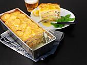Swedish salmon and potato pudding