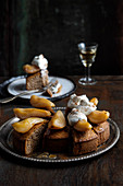 Buckwheat and almond cake with caramelised pears