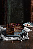 Buckwheat chocolate cake with raspberry jam