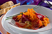 Carrots with beetroot and walnuts