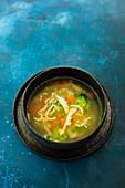 Hühnersuppe mit Suppennudeln und Gemüseeinlage