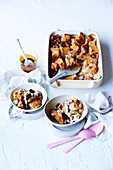 Caramel Coconut Bread Puddings