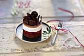 Vegan Black Forest cherry coconut tart with chocolate rolls