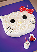 Kitty Cat shaped birthday cake