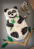 Panda shaped birthday cake