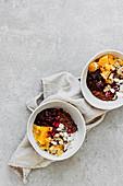 Chocolate porridge with oranges
