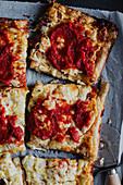 Detroit-Pizza mit Tomatensauce und Käse