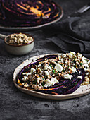 Vegeterian red cabbage 'steak' with feta and buckwheat