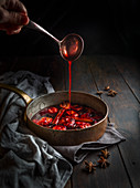 Roasted plums with cinnamon and star anise